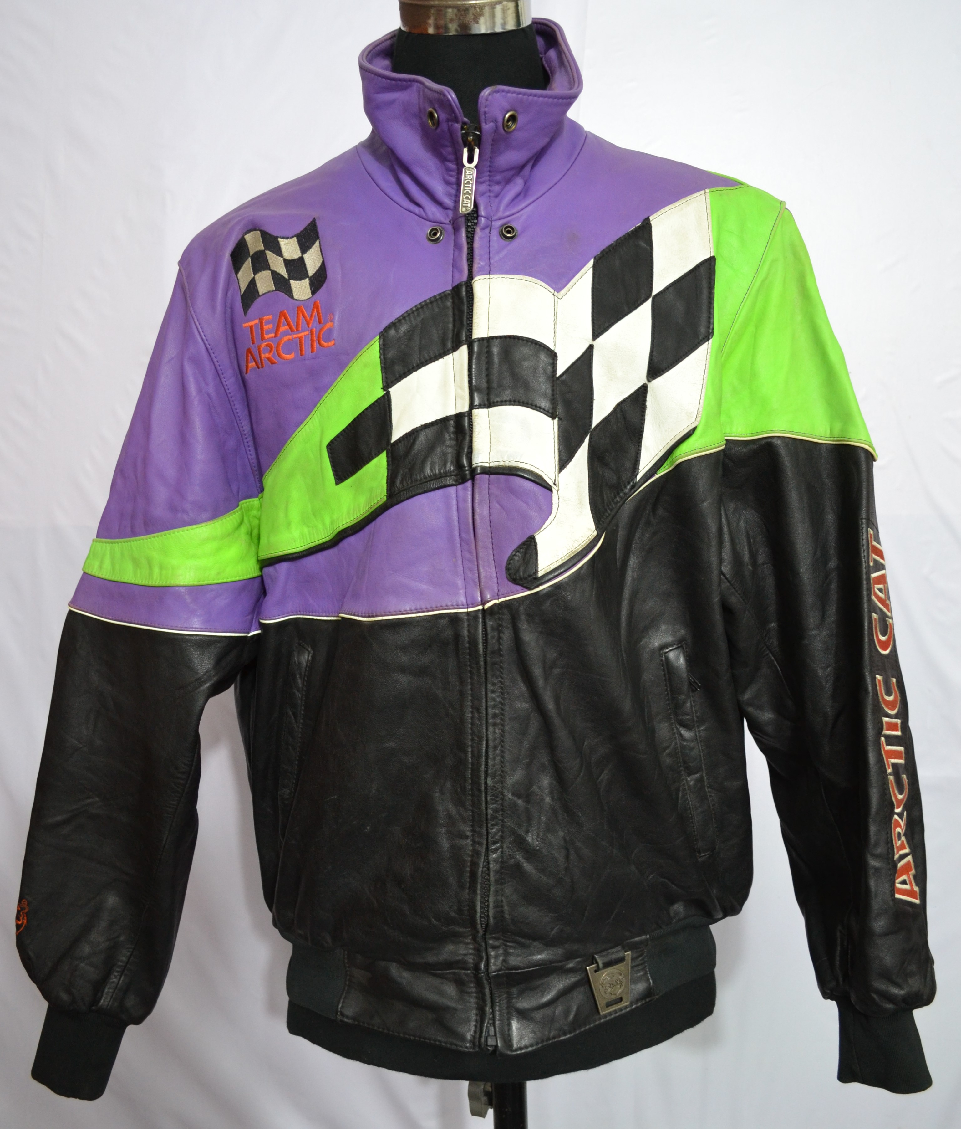 arctic cat s motorcycle thick leather jacket b51 2 2