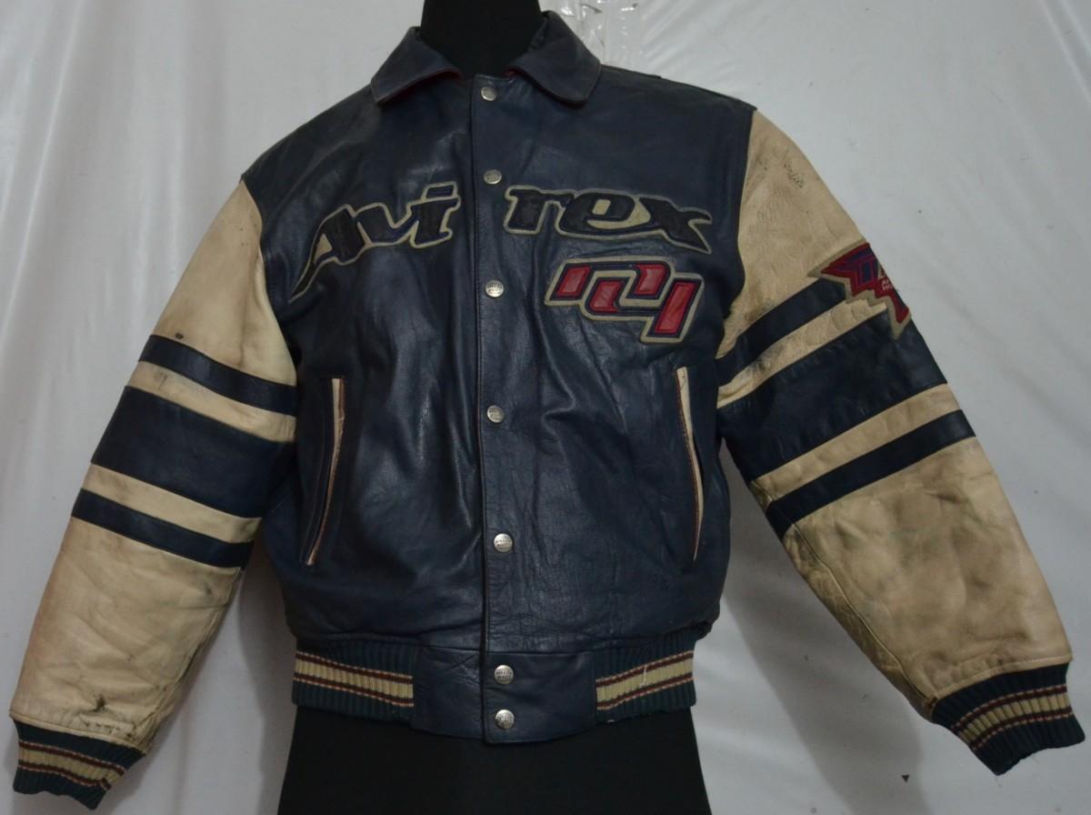 fb7627b07 AVIREX ALL STAR CAN-AM HOCKEY AWARD GOALLERS Men  39 s Varsity Bomber  Vintage Avirex G-2 Navy Brown Distressed Leather Flight Jacket ...