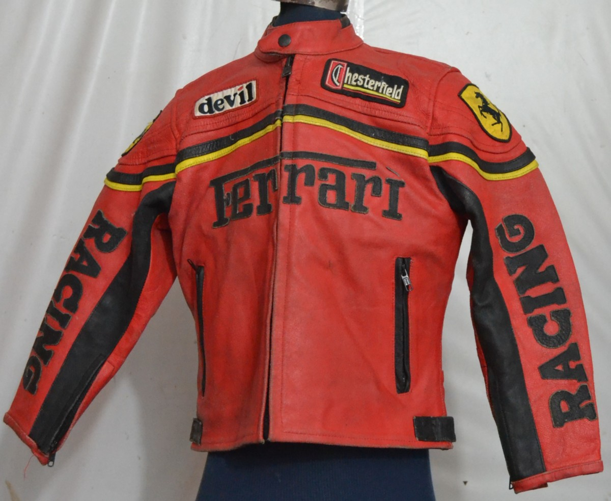 red leather with stock back photo jacket ferrari on logo