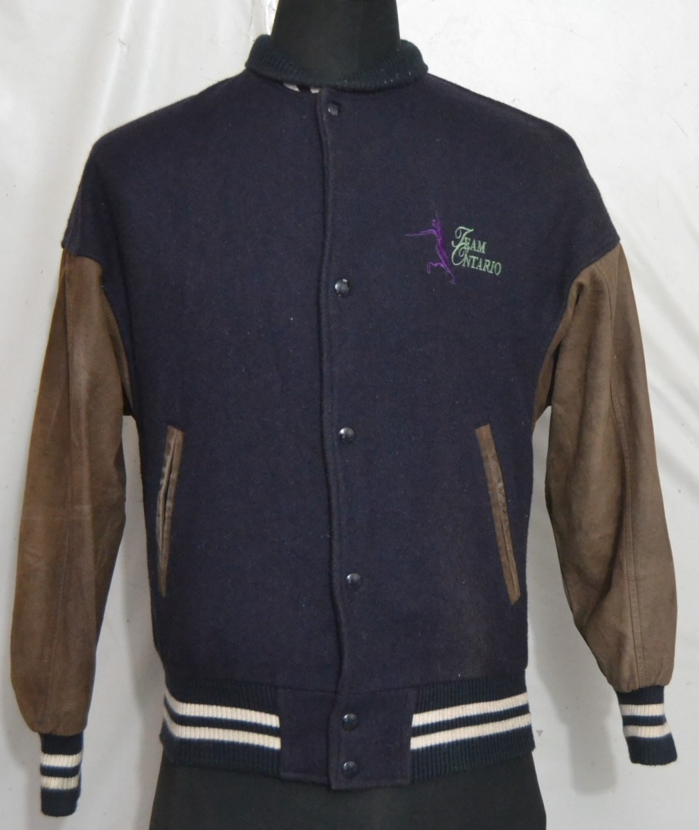 ONTARIO TEAM By HARPURS Menu0026#39;s Varsity/Baseball Jacket With Leather Sleeves - Made In Canada (S ...