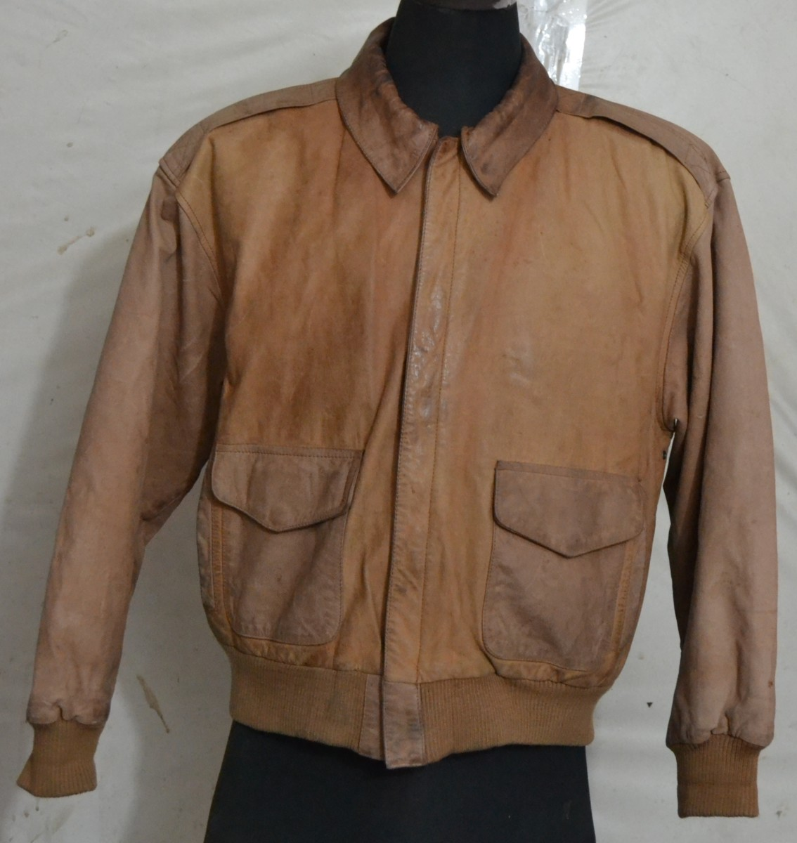 OUTBROOK Men's Type A2 Flight Leather Jacket with a nice printed
